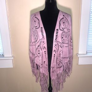 PAPARAZZI lilac fringe BOHO faux suede kimono